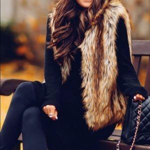 Tan fur vest